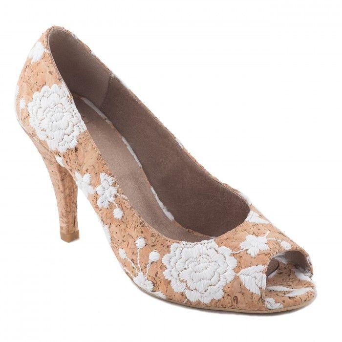 Flor vegan Cork Peep Toe shoe woman