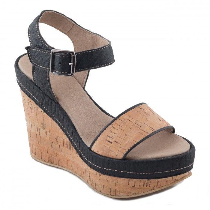 Sara Cork Woman vegan ankle strap wegdge sandal