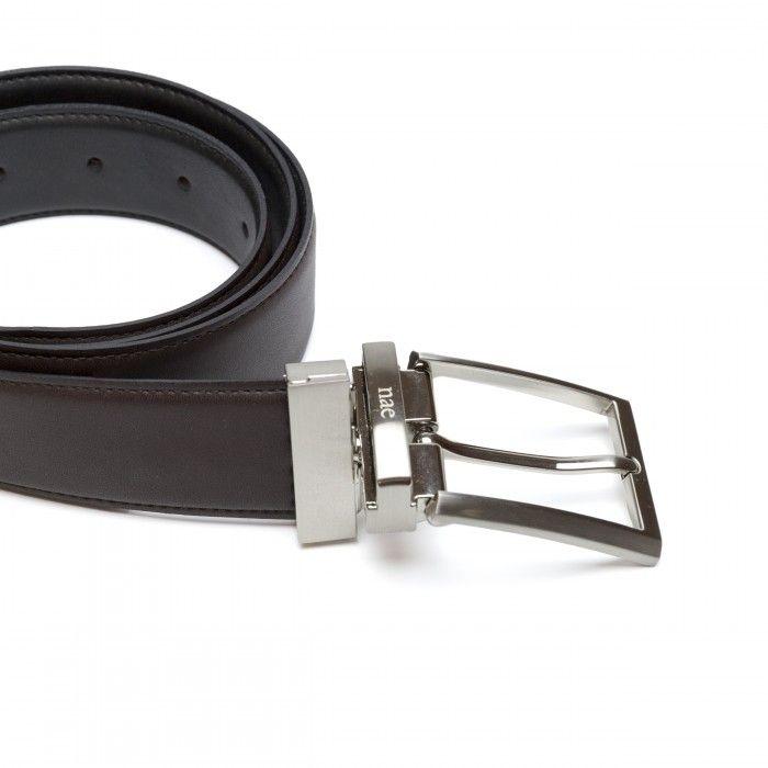 rubi cinturón negro marrón hombre hebilla metálica reversible  vegano