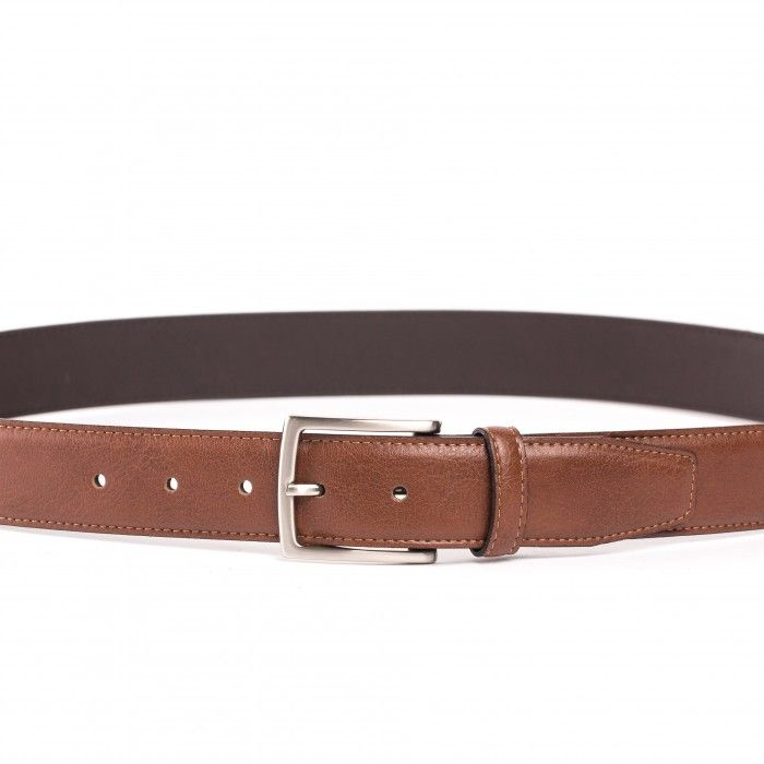 tossa brown belt unisex silver buckle vegan
