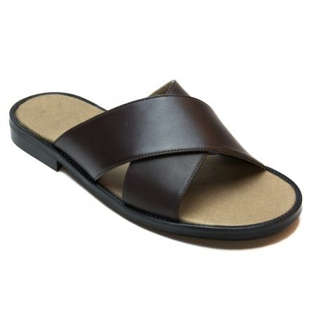 Marco man vegan flat sandal microfiber brown