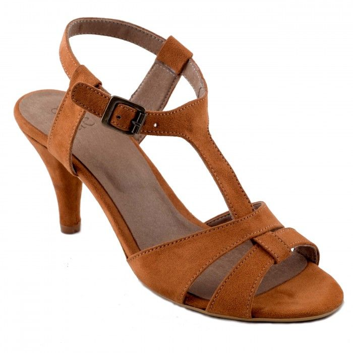 Bona Brown Sandale végane femme t-strap conique kitten heel