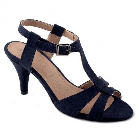 Bona Blue Sandale végane femme t-strap conique kitten heel