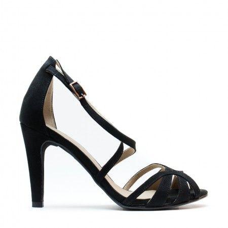 Adri Black woman vegan t-strap sandal heel