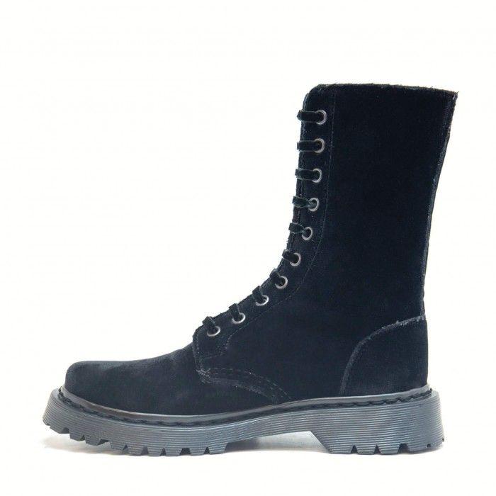 Velvet Black vegane boots im biker stil damen schwarz