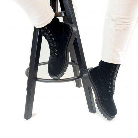 Velvet Black woman vegan biker boots laces