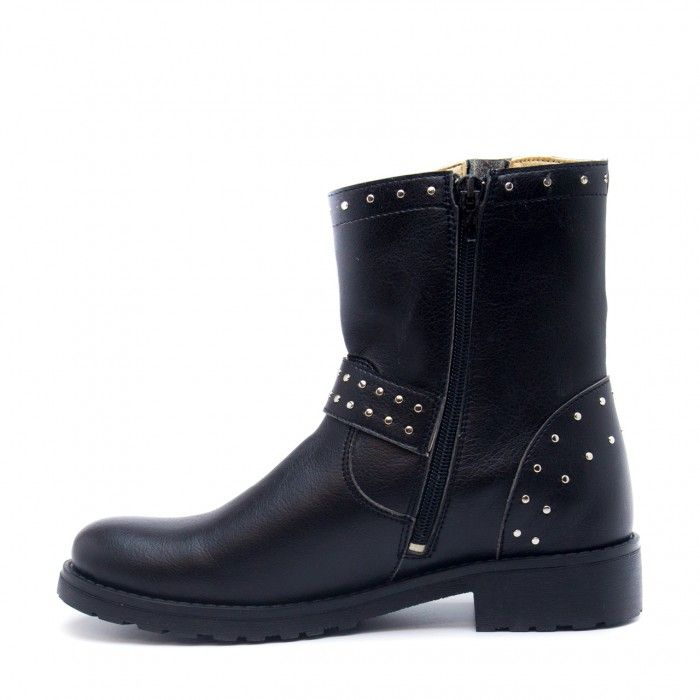 Gabri Woman vegan biker boots metal rivets black