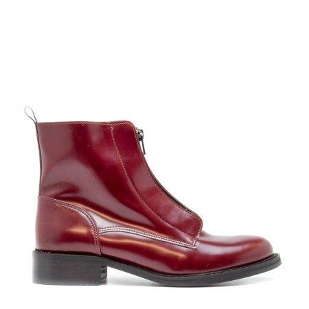 Zipme Bordeaux woman vegan ankle boots zipper