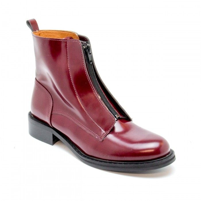 Zipme Bordeaux woman vegan ankle boots zipper