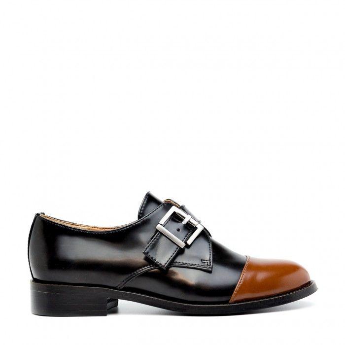 Vince Brown Sapato raso vegan mulher fivela livre de níquel preto castanho
