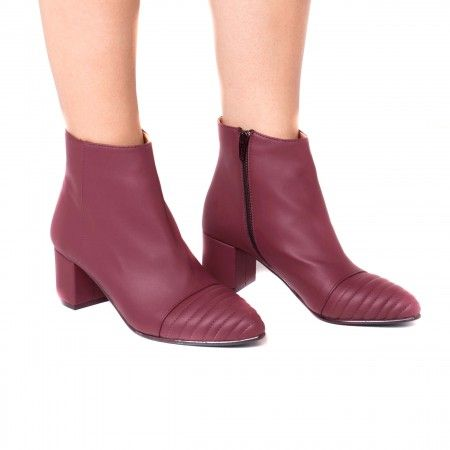 Marta Bordeaux woman vegan ankle boots block heel