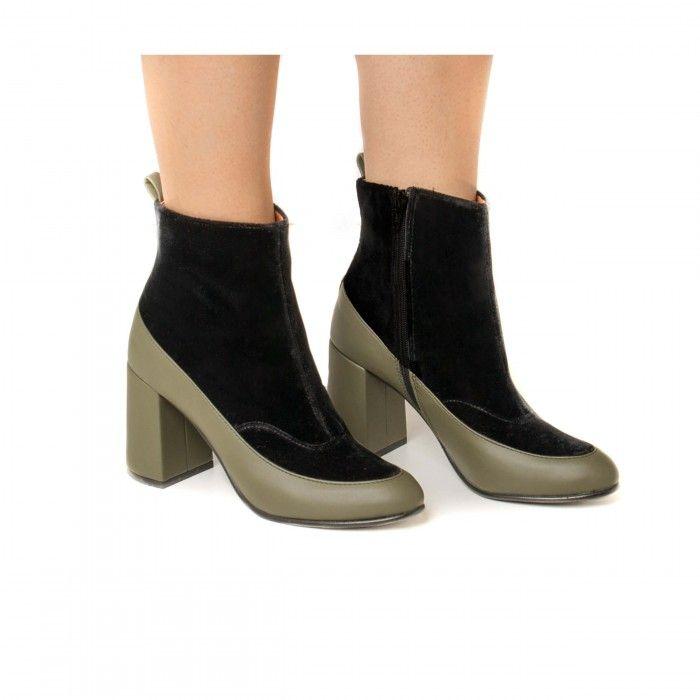 Paula Green woman vegan low rise boot block heel velvet