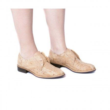 Clara Cork Sapato raso vegan mulher cortiça