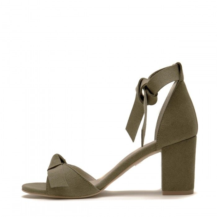 estela green ankle strap sandal block heel women vegan