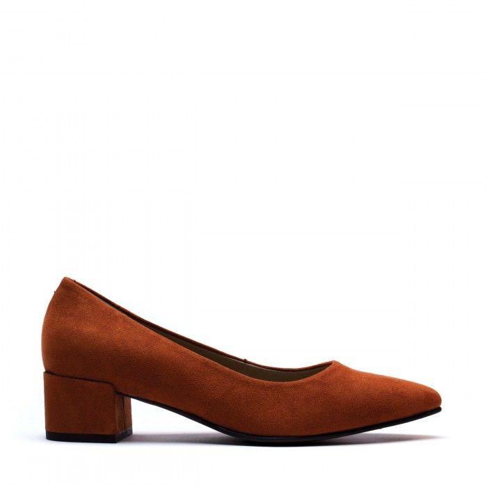 Malu Orange woman Vegan block heel shoes point toe