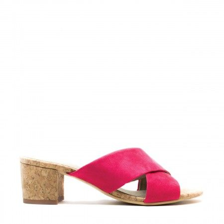 Anita Pink woman vegan open back sandal block heel cork