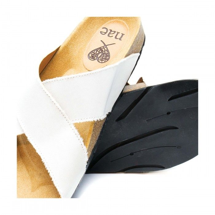 Re Car white flat sandal made with recycled airbag women men vegan