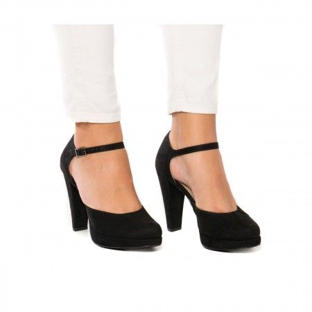 Erica Black Woman vegan strap platform Court Shoes
