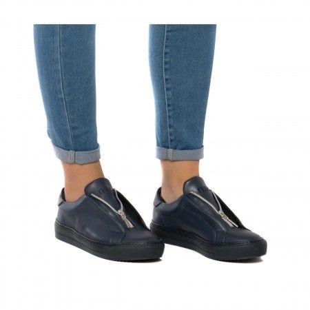 OnZip Blue Zapatillas veganas mujer cremallera azul