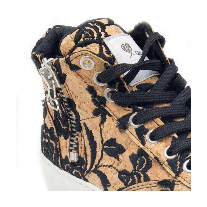 woman vegan lace-up sneakers cork