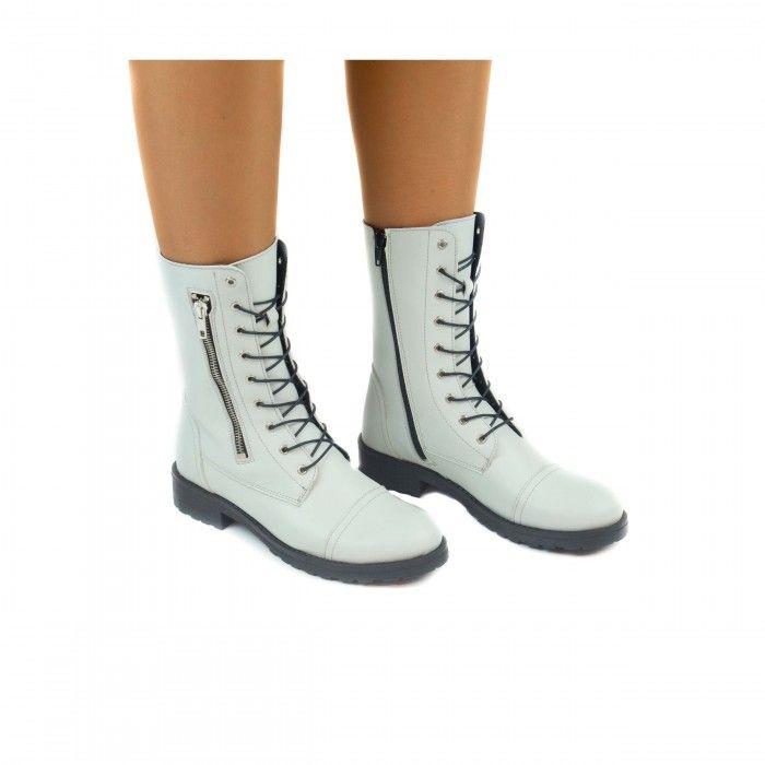 Zaira White woman vegan medium barrel boot