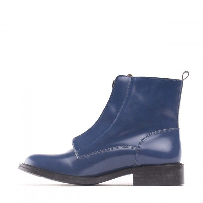 Zipme Blue  woman vegan ankle boots zipper