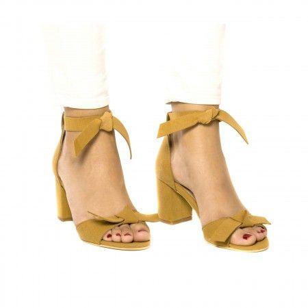 Estela Yellow Woman vegan ankle strap sandal block heel