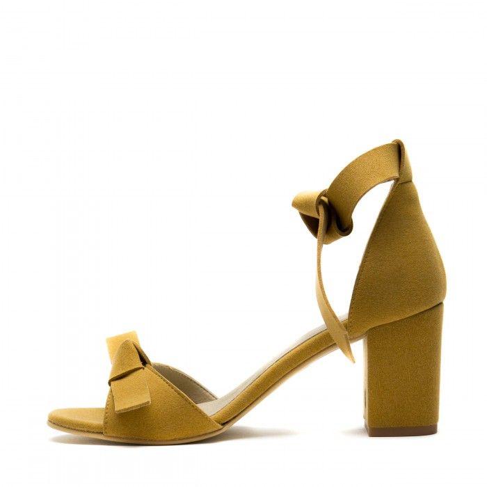 estela yellow ankle strap sandal block heel women vegan