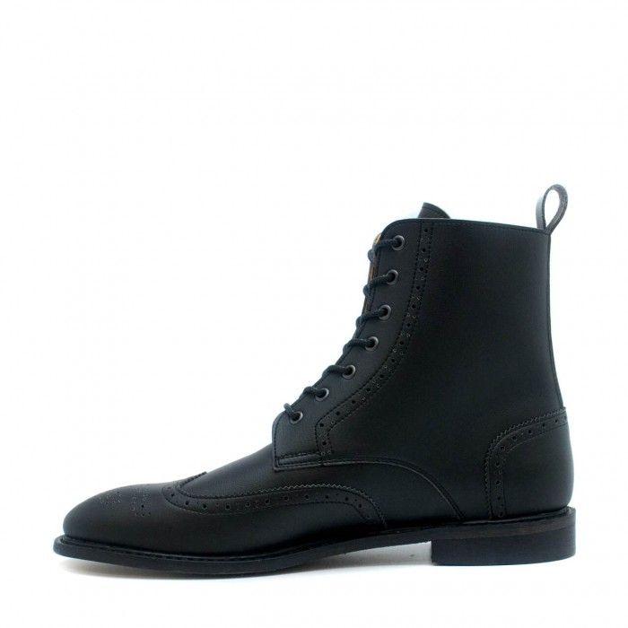 Alex Black man vegan brogue wing tip toe boots