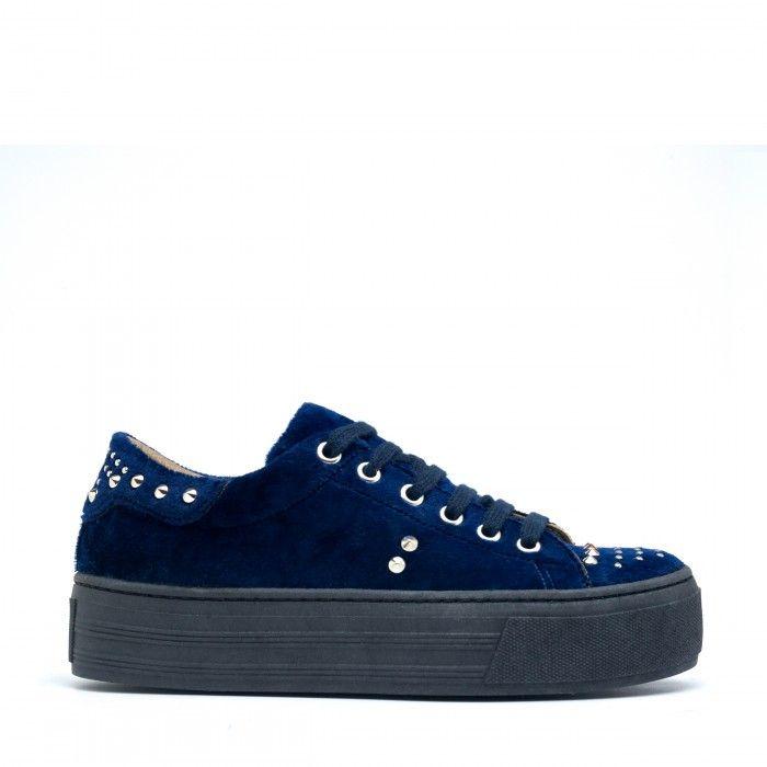 Wika Blue zapatillas veganas mujer terciopelo azul