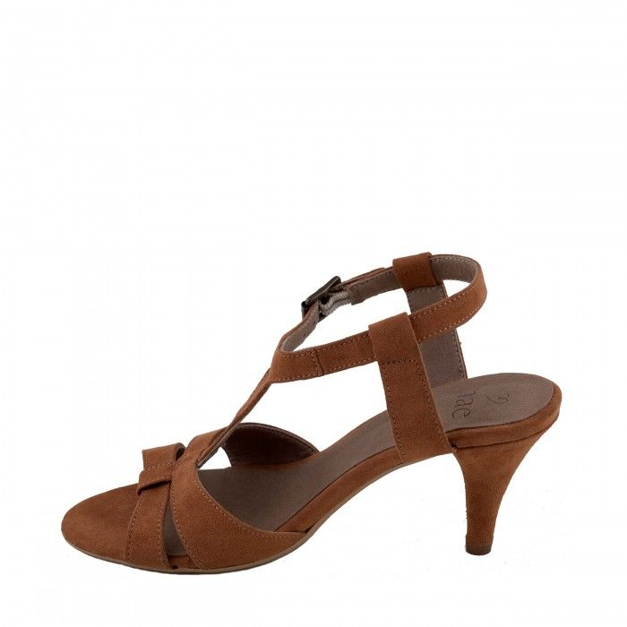 Bona Brown Woman vegan t-strap sandal kitten heel