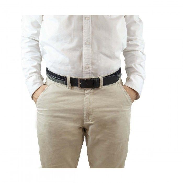 taull cinturón negro gris hombre hebilla plateada patron trenzado vegano