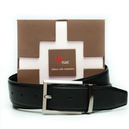 rubi brown black belt man silver buckle reversible vegan