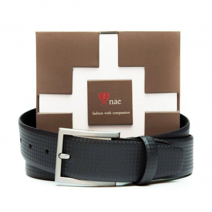 sort black belt man silver buckle vegan