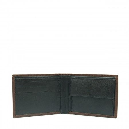 lyon brown wallet man billfold classic card slots coin pocket vegan