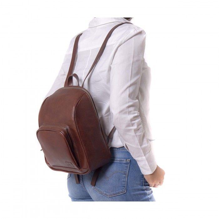 Leia sac à dos marron femme boucle argentée végan