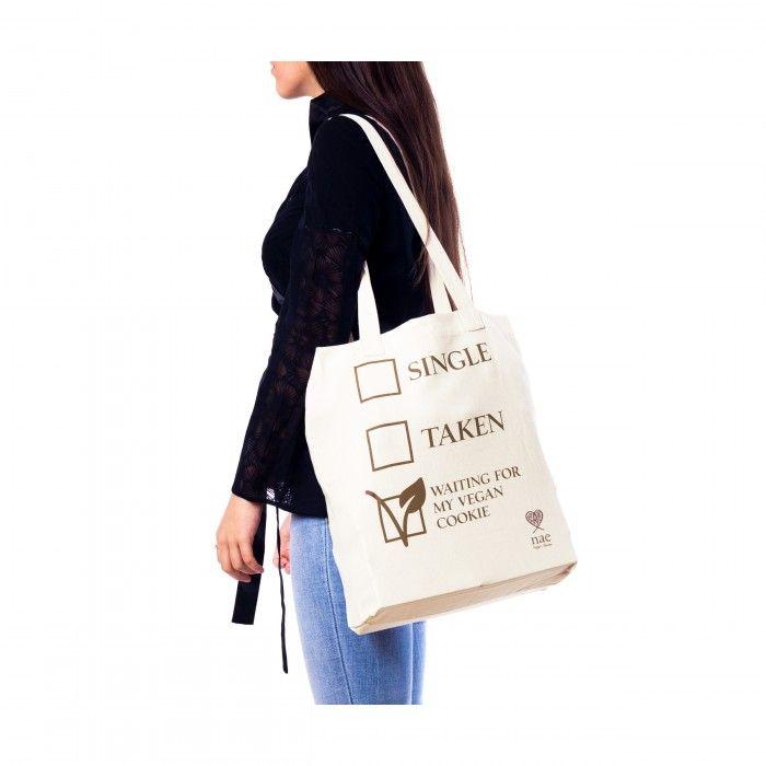 Cookie umweltfreundliche Einkaufstasche weiß vegane