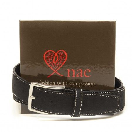 moia black belt with silver buckle
