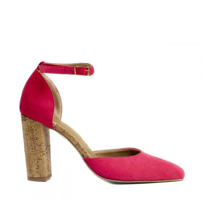 bella d'orsay ankle strap shoe block heel pink cork women vegan