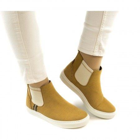 Niza Camel Suede Chelsea Sneakers aus Mikrofasern damen vegane
