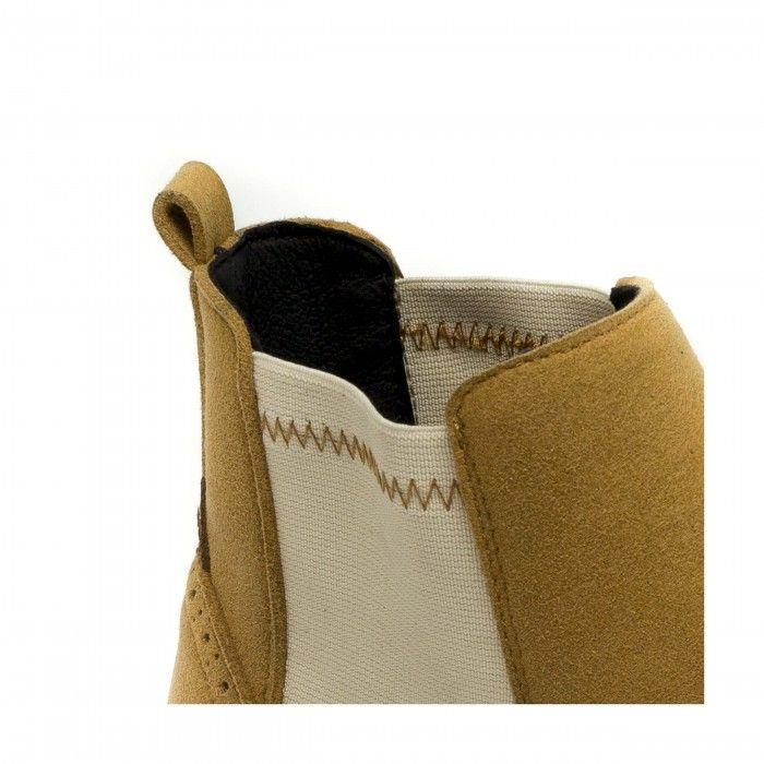 Niza Camel Suede chaussure châtain clair avec deux bandes élastiques femme vegane