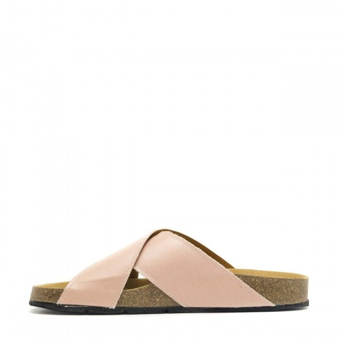 Re Car pink flat sandal made with recycled airbag women vegan