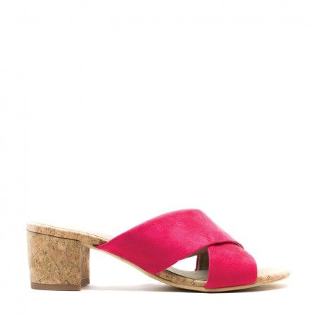 Anita Pink open back sandal with a cork heel woman vegan