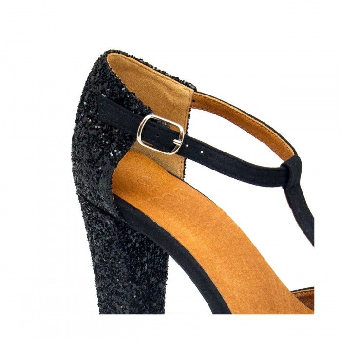 carena black t strap court shoe block heel women vegan