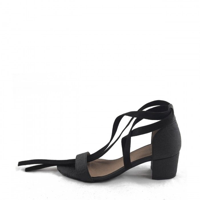 clau black ankle strap sandal block heel women vegan