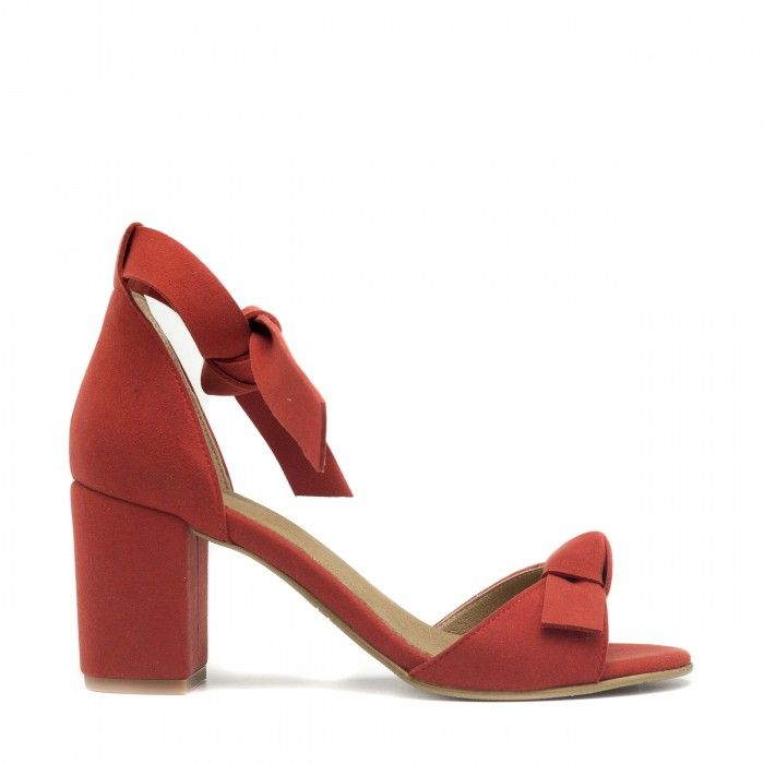 estela red ankle strap sandal block heel women vegan