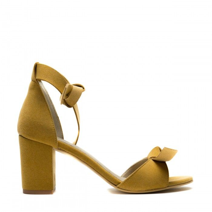 estela yellow ankle strap sandal block heel women vegan