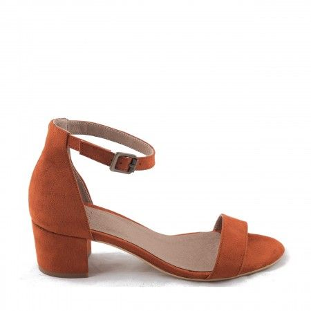 irene orange ankle strap sandal block heel women vegan