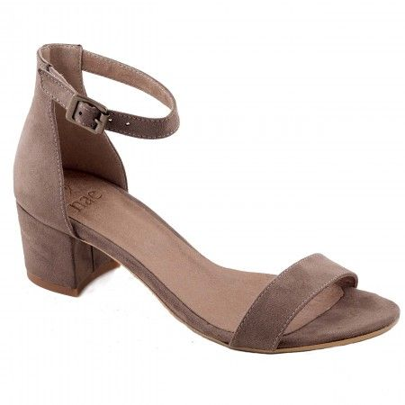 irene brown ankle strap sandal block heel women vegan