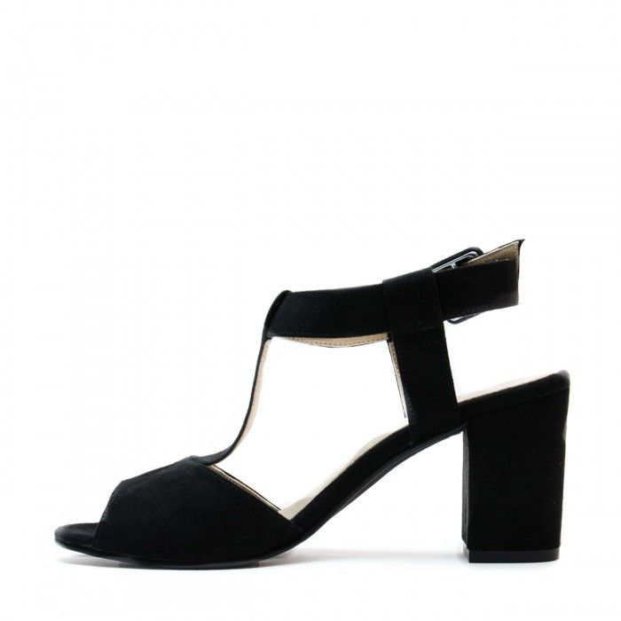 kamila black t-strap sandals open back block heel women vegan